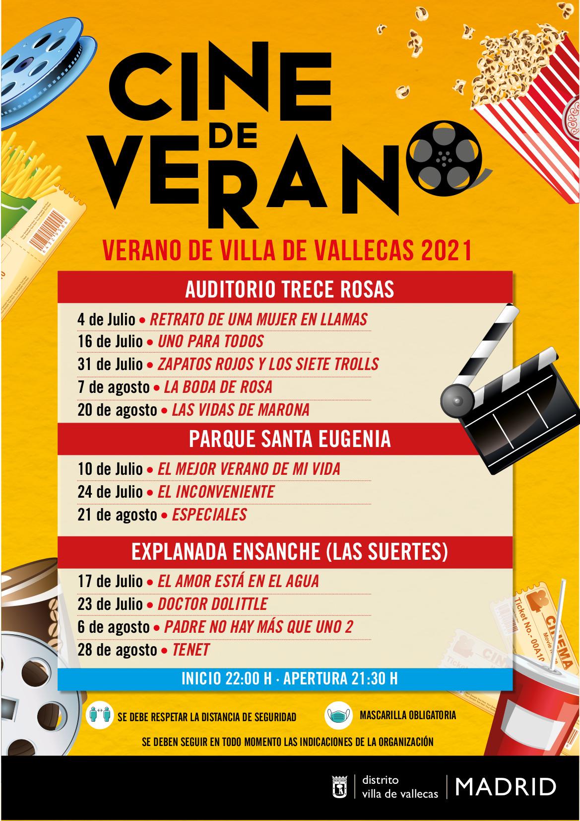 Cartel cine verano Villa Vallecas 2021